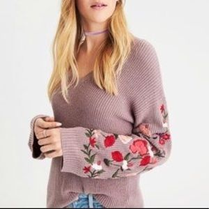 American Eagle Embroidered Floral Sweater